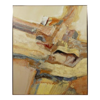 Mid Century Modern Framed Abstract Acrylic Oil Canvas Painting by Chuck Parsons For Sale