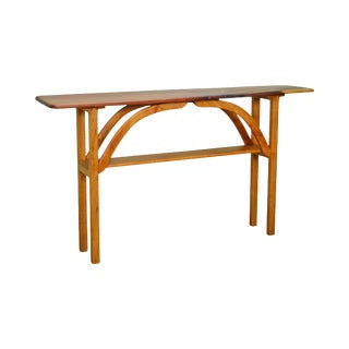 Studio Crafted Mixed Wood Narrow Console Table For Sale