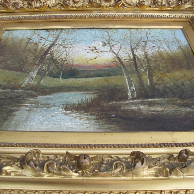 Traditional Autumn Scene Oil Painting on Canvas For Sale - Image 3 of 5