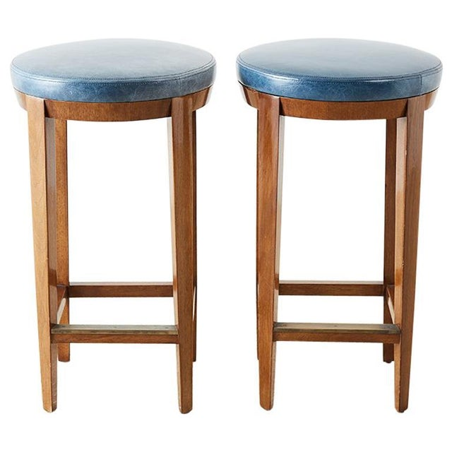 Pair of Dessin Fournir Leather Mahogany Bar Stools For Sale - Image 13 of 13