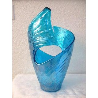 Caribbean Blue Art Glass Vase Preview