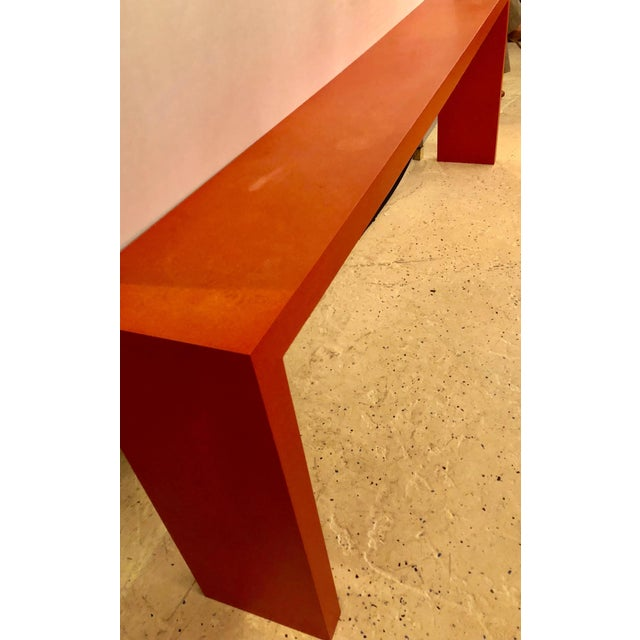 Faux Paint Decorated Pier Console or Wooden Bench in Dark Orange Paint For Sale In New York - Image 6 of 9