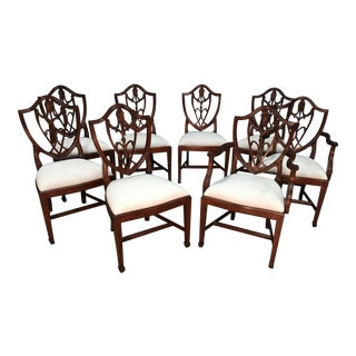 Leighton Hall Mahogany Shieldback Dining Chairs - Set of 8 For Sale