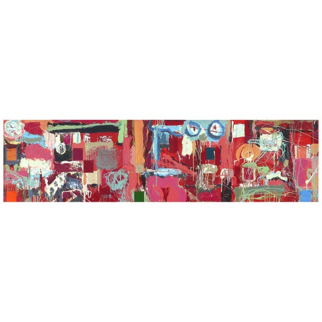 """William P. Montgomery Abstract Mixed Media Painting """"Cornucopia 2"""" on Wood For Sale"""