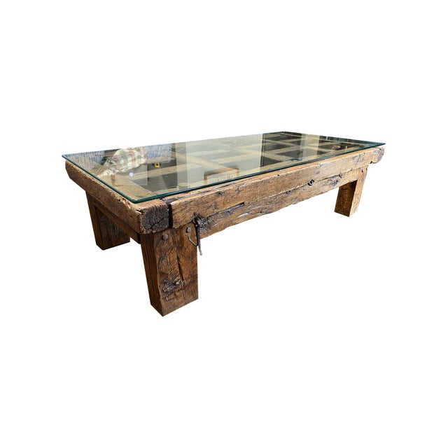 Late 20th Century Mexican Jail Door Wood Coffee Table For Sale - Image 5 of 7