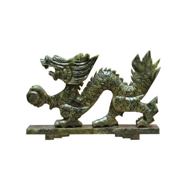 Image of Chinese Green Stone Carved Dragon Fengshui Figure