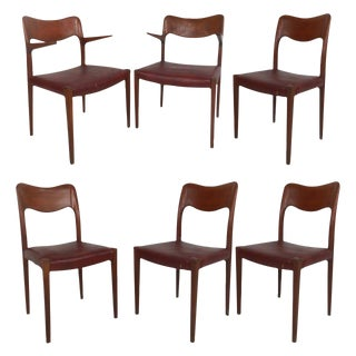 Mid-Century Modern Rosewood Dining Chairs in Style of n.o. Møller - Set of 6