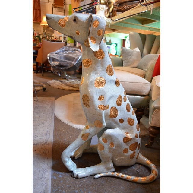 Life Size Hand Made Glazed Old Lost Wax Bronze Dalmation Statue For Sale - Image 4 of 8
