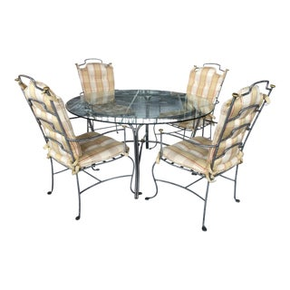 Round Glass Table and Brass & Brushed Metal Chairs - Set of 5 For Sale