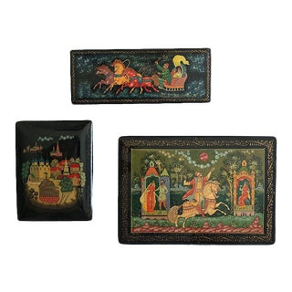 Russian Lacquered Box Collection - Set of 3 For Sale