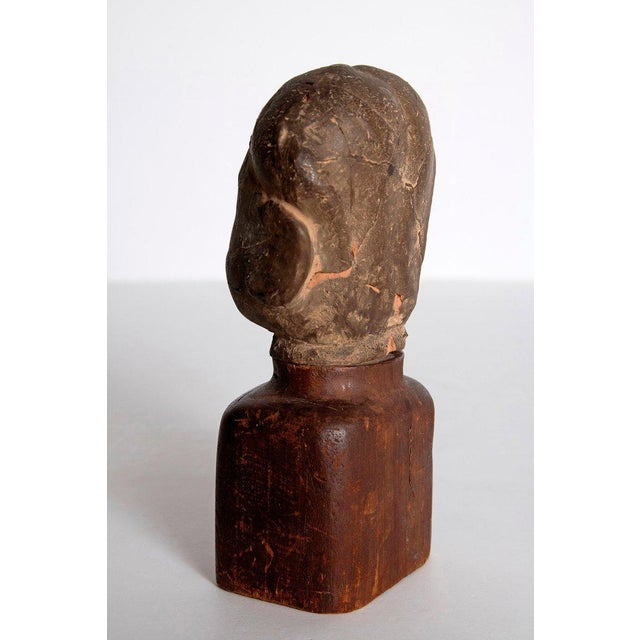 Asian Asian Antiquity Clay Head on Wood Base For Sale - Image 3 of 13