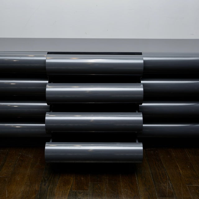 Sculptural Bull Nose 12-Drawer Dresser in Graphite Lacquer For Sale - Image 4 of 9