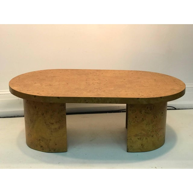 Modern Burled Elm Wood Coffee Table Oval For Sale - Image 3 of 8