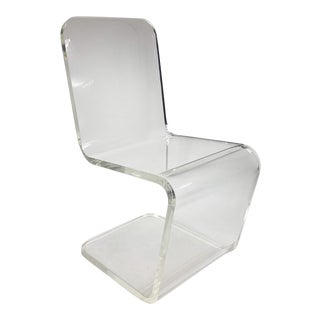 1970s Vintage Lucite Zig-Zag Chair For Sale