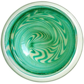 Fratelli Toso Ed Langbein Murano Green Swirl Gold Flecks Italian Art Glass Bowl For Sale