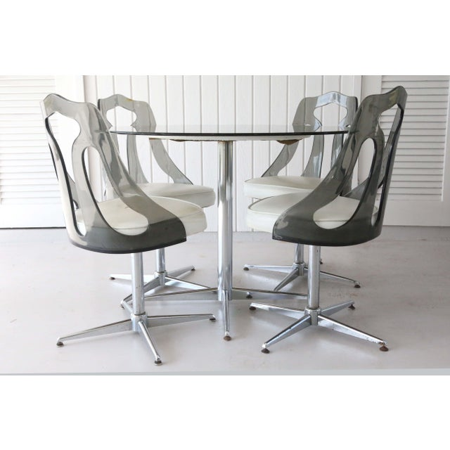 1970's Space Age Modern Smoked Lucite and Chrome Dining Set - 5 Pieces For Sale - Image 4 of 13