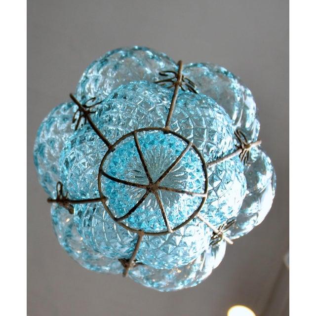 Seguso Large 1940's Seguso Murano Blue Bubble Glass Pendant Chandelier For Sale - Image 4 of 7