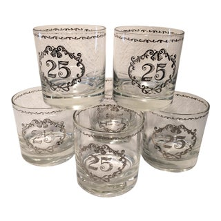 Vintage 25th Anniversary Lo-ball Glasses - Set of 6