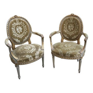 19th Century French Louis XVI Painted Armchairs- A Pair For Sale