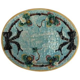 1880 English Majolica Bread Tray For Sale