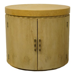 Henredon Furniture Enchantment Collection Aspen Oak Round Storage Drum Table For Sale