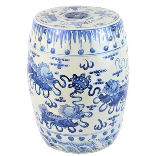 This is a beautiful blue and white porcelain garden stool with a vibrant design of Dancing Foo Dogs and Treasures. This...