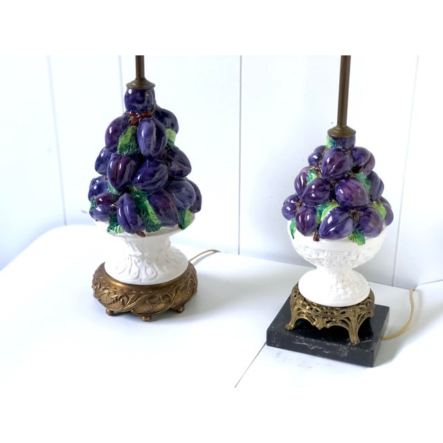 Friendly Vintage Italian Ceramic Fruit Topiary Lamps - a Pair For Sale - Image 4 of 13