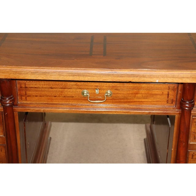 Wood Italian Inlaid Walnut Executive Desk For Sale - Image 7 of 10