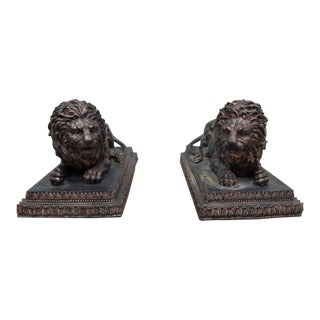 20th Century Figurative Cast Bronze Entrance Way Reclining Lions - a Pair For Sale