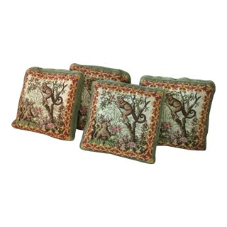 Needlepoint and Velvet Hand Made Throw Pillows - Set of 4 For Sale