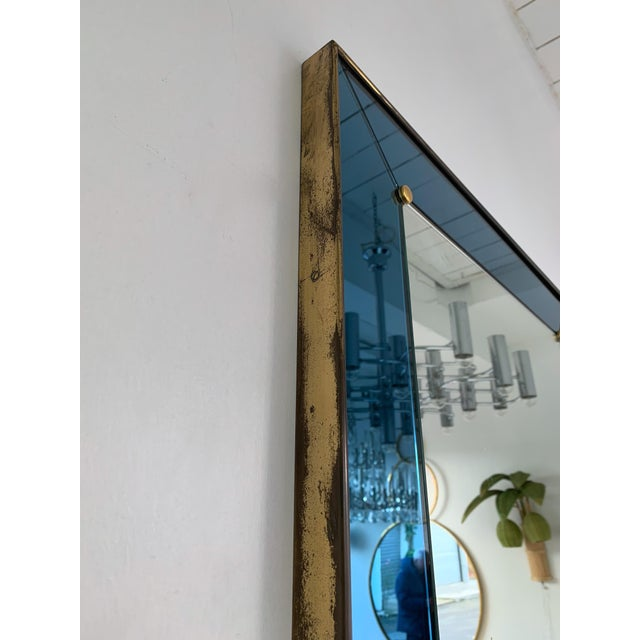 Cristal Arte Mirror Blue and Brass by Cristal Art. Italy, 1960s For Sale - Image 4 of 13