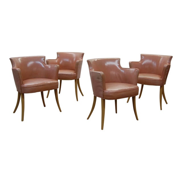 Set of Four Early Dunbar Dining Chairs in Leather For Sale