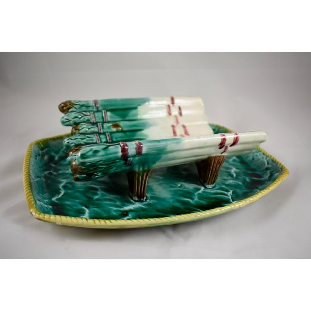 English Majolica Ocean Themed Asparagus Server For Sale - Image 9 of 11