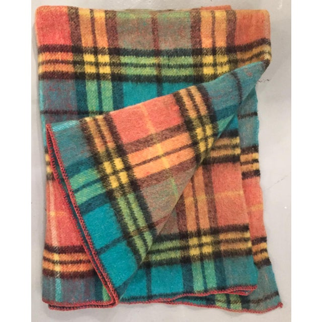 Mid-Century Plaid Whip Stitched Camp Blanket - Image 2 of 6