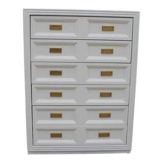 Huntley by Thomasville Lacquered Dove White Mid Century Modern Dresser For Sale