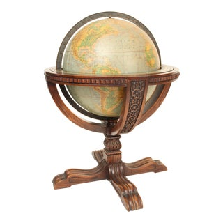 "Rand McNally & Co. 16"" Table Top Globe on Oak Base For Sale"