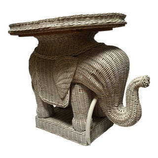 Boho Chic White Wicker Elephant Side Table With Removable Tray For Sale