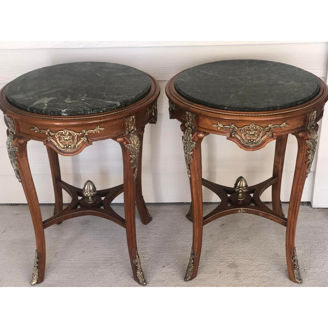 French Ormolu Mounted Side Marble Tables - a Pair For Sale - Image 10 of 13