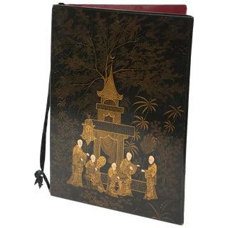 Black lacquer Chinoiserie Folio/Blotter For Sale