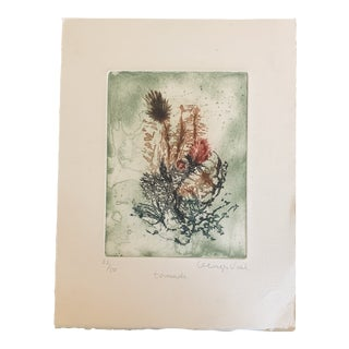 Mid 20th Century Botanical Print With Face by Georges Vail Original Signed 22/50 For Sale