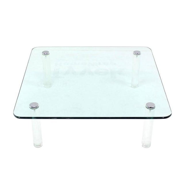Lucite Mid-Century Modern Square Glass Top Coffee Table on Lucite Cylinder Legs For Sale - Image 7 of 8