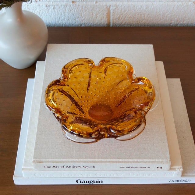 Vintage Murano Amber & Clear Glass Bubble Bowl - Image 6 of 9