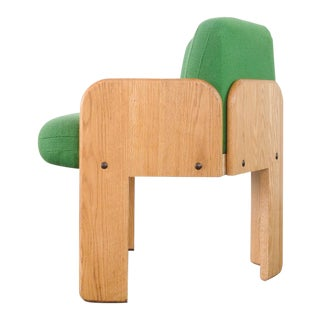 Vladimir Kagan Oak & Green Wool Tripod Chair