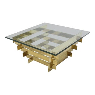 1970s Mid-Century Modern Bronze Base Glass Top Square Coffee Table For Sale