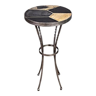 Slate Top Metal Base Side Table For Sale