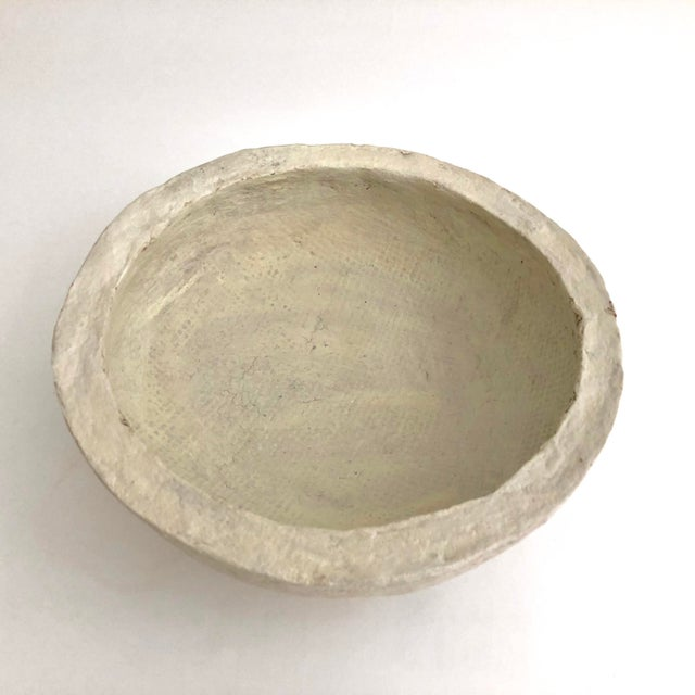 Contemporary 1960s Rustic Hand-Crafted Papier-Mache Bowl For Sale - Image 3 of 7