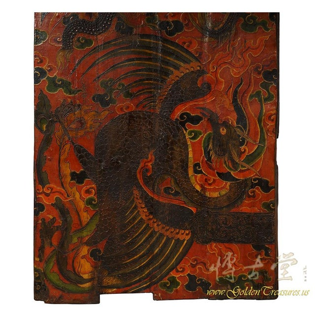Early 20th Century Antique Tibetan Painted Door Panel For Sale - Image 5 of 9
