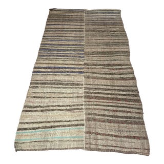 """Vintage Turkish Kilim Rug With Stripes and Modern Style - 5' 4"""" X 9' 10"""" For Sale"""