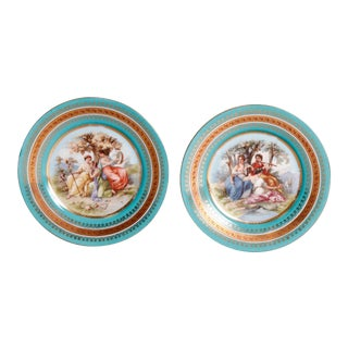 Two Antique Royal Vienna Porcelain Plates, Classical Muses, circa 1890 - a Pair For Sale