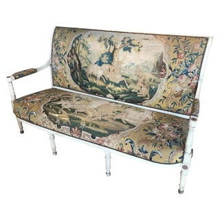 18th Century Antique French Original Tapestry Settee For Sale